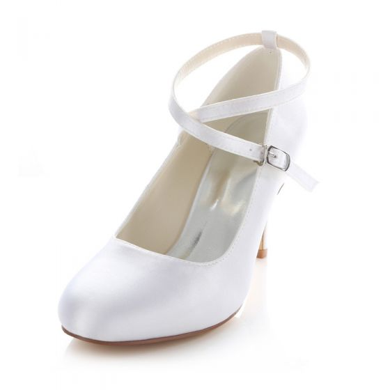 Clic White Satin Bridal Wedding Shoes 3 Inch High Heels Stiletto Pumps With Ankle Strap