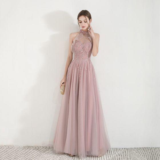 Elegante Pearl Rosa Durchsichtige Abendkleider 2019 A Linie Stehkragen Ärmellos Applikationen Spitze Perlenstickerei Lange Rüschen Rückenfreies Festliche Kleider