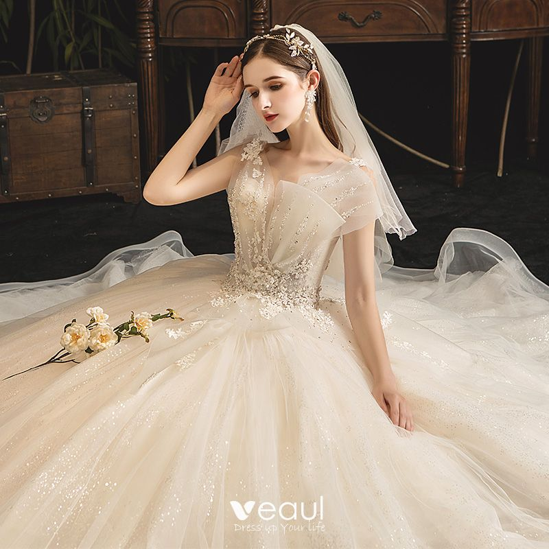 Classy Champagne Wedding Dresses 2019 Ball Gown V-Neck Sequins Lace Flower Sleeveless Backless Court Train