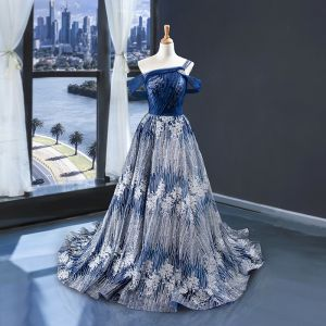 High End Königliches Blau Silber Abendkleider 2020 A Linie One-Shoulder Kurze Ärmel Glanz Tülle Sweep / Pinsel Zug Rüschen Rückenfreies Festliche Kleider