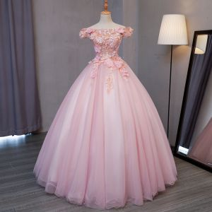 Lovely Blushing Pink Prom Dresses 2017 Ball Gown Off-The-Shoulder Short Sleeve Lace Appliques Flower Pearl Floor-Length / Long Ruffle Backless Formal Dresses