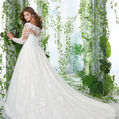 Classic Elegant White Plus Size Wedding Dresses 2020 A-Line / Princess Long Sleeve Off-The-Shoulder 3D Lace Appliques Backless Embroidered Handmade  Wedding