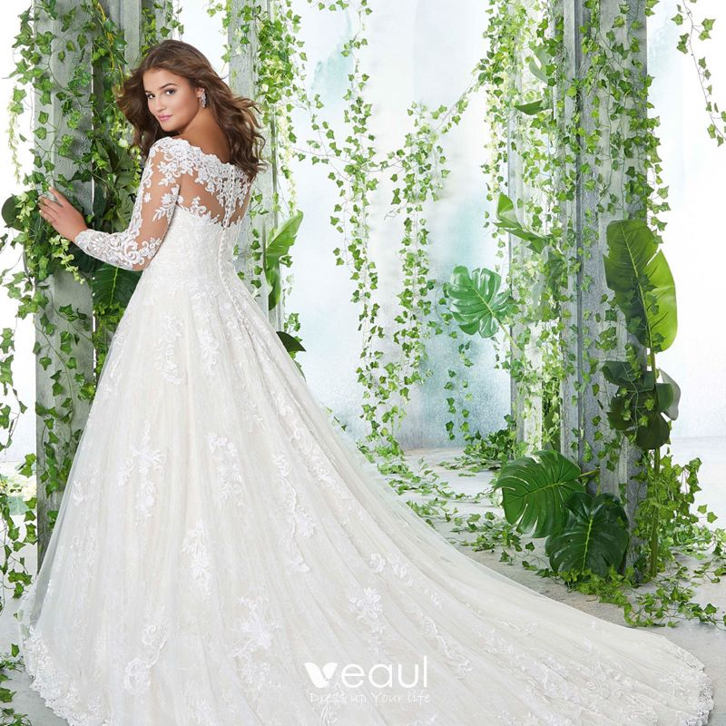 Classic Elegant White Plus Size Wedding Dresses 2020 A-Line / Princess Long  Sleeve Off-The-Shoulder 3D Lace Appliques Backless Embroidered Handmade ...