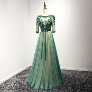Classic Dark Green Evening Dresses  2017 A-Line / Princess Floor-Length / Long Cascading Ruffles Scoop Neck 3/4 Sleeve Backless Lace Appliques Rhinestone Beading Crystal Pearl Pierced Formal Dresses