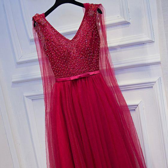 Piękne Czerwone Sukienki Wizytowe 2017 Princessa Z Koronki Kwiat Kokarda Frezowanie Bez Pleców V-Szyja Bez Rękawów Długość Kostki Sukienki Na Bal