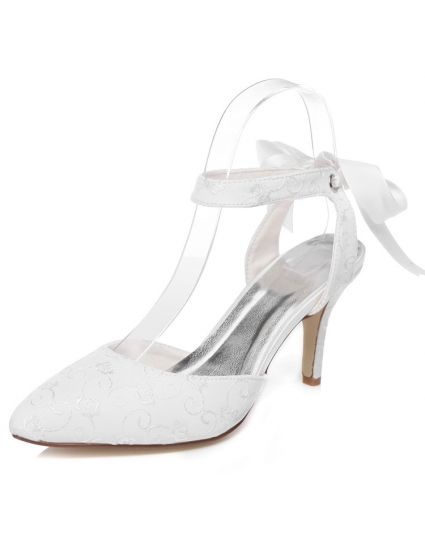 Beautiful Embroidered Satin Bridal Shoes Stiletto Heels White Wedding Sandals With Ankle Strap