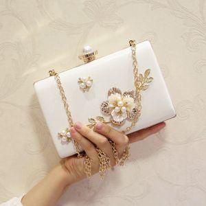 Mooie / Prachtige Witte Parel Metaal Handtassen 2018