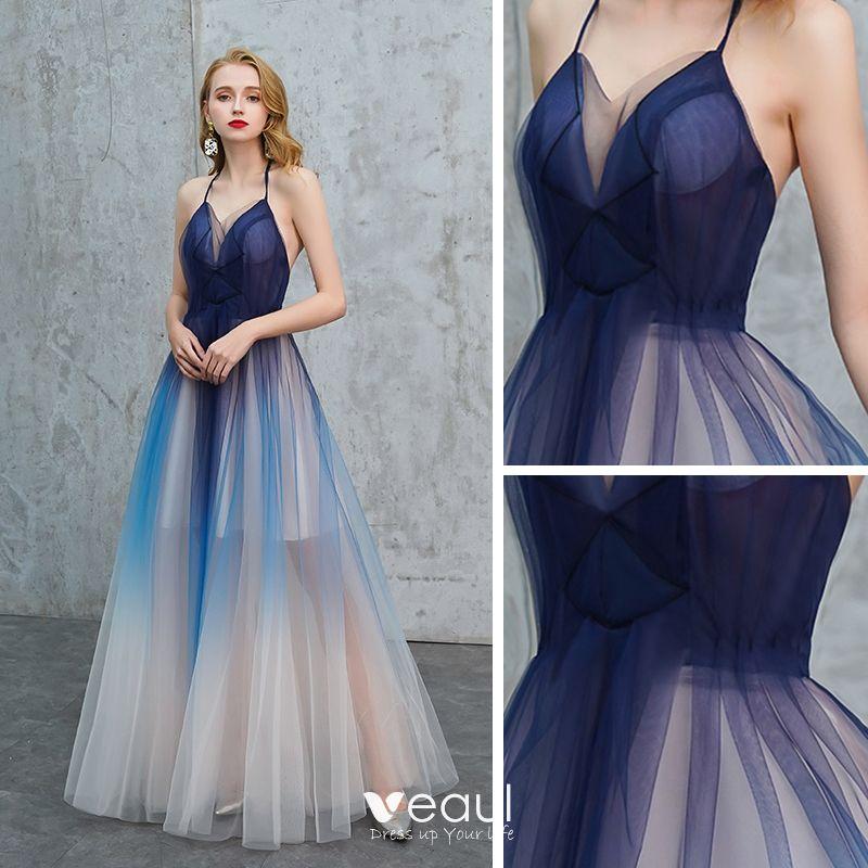Sexy Königliches Blau Farbverlauf Sommer Abendkleider 2019 ...