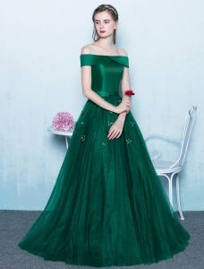 Elegant Prom Dresses 2017 Off The Shoulder Backless Dark Green Long Dress