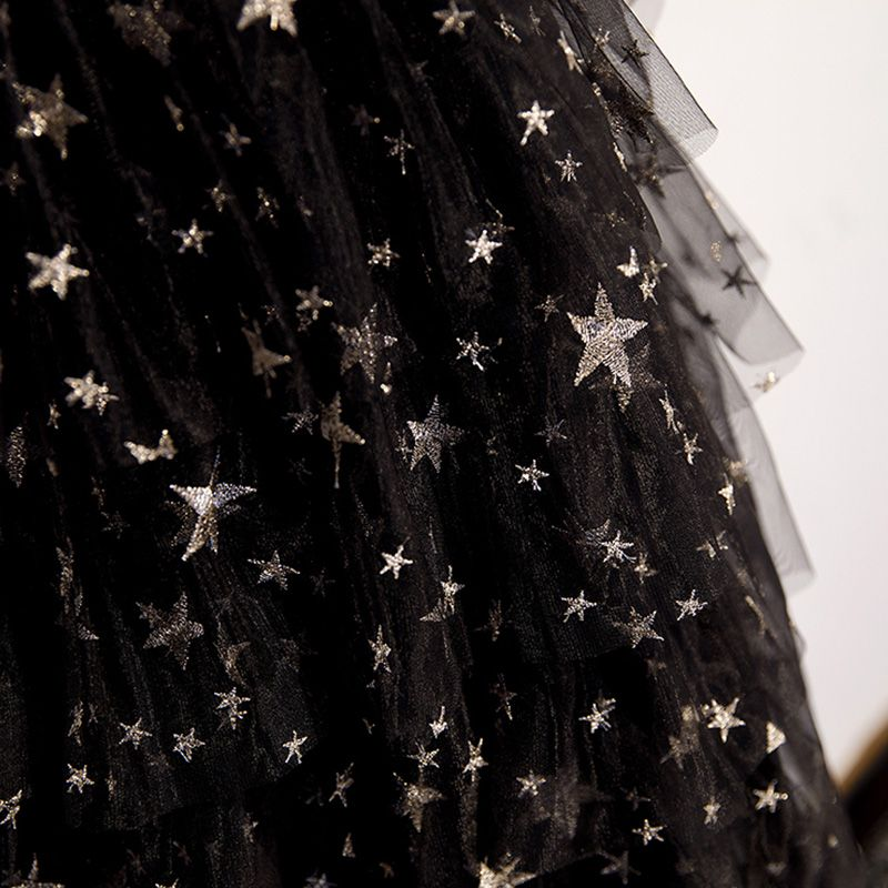Modern Zwarte Feestjurken 2019 A lijn Geliefde Mouwloos Ster Geborduurde Knielengte Ruche Ruglooze Gelegenheid Jurken