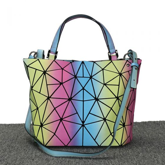Regnbue Multi-Farver Lysende Geometrisk Messenger taske Skuldertasker 2021 PU Reflekterende Holografisk Dametasker