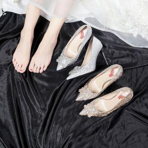 Mode Sølv Brudesko 2020 9 cm Beading Rhinestone Stribet Fest Selskabs Spidse Tå Damesko
