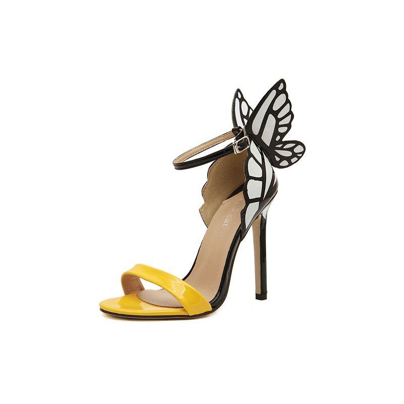 4c9eefa3d9f5 Trendy Kvinders Sandaler Med Sommerfuglevinger Og Farve Blok Design