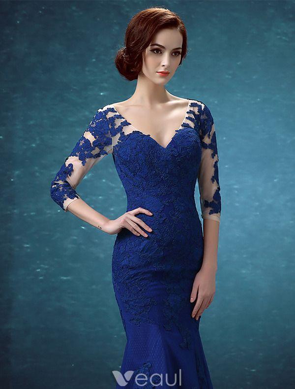 Schöne Abendkleider Lang 2016 Appliquespitze Royalblau Tüll Rückenfrei Festliche Kleid