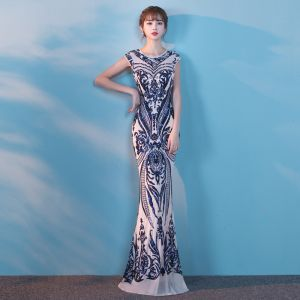Chic / Beautiful 2017 White Evening Dresses  Trumpet / Mermaid U-Neck Backless Handmade  Glitter Party Dresses