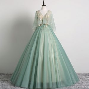 Elegant Sage Green Prom Dresses 2019 Ball Gown V-Neck Lace Flower 1/2 Sleeves Backless Floor-Length / Long Formal Dresses
