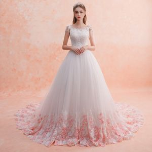Chic / Beautiful White Wedding Dresses 2019 A-Line / Princess Scoop Neck Beading Tassel Lace Flower Candy Pink Appliques Sleeveless Backless Royal Train
