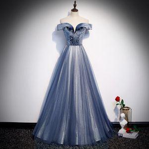 Meilleur Bleu Roi Robe De Soirée 2020 Princesse De l'épaule Manches Courtes Perlage Glitter Tulle Longue Volants Dos Nu Robe De Ceremonie