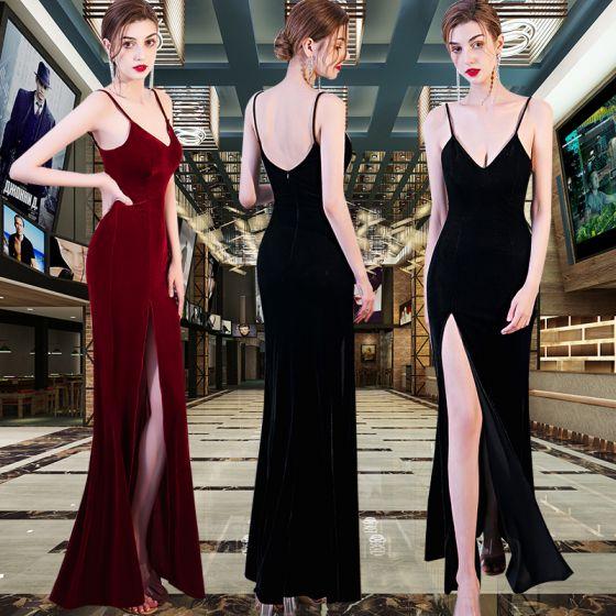 Sexy Velour Evening Dresses  2020 Trumpet / Mermaid Spaghetti Straps Sleeveless Split Front Floor-Length / Long Backless Formal Dresses