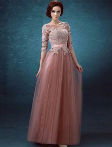 Piękne Suknie Wieczorowe 2016 Miarka Dekolt Aplikacja Koronki 1/2 Rękawy Bez Pleców Długa Suknia Z Szarfą