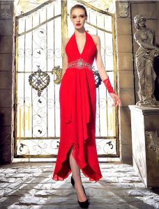 Mode Halter V-ansatz Backless Bördelndes Rhinestonekristall Roten Chiffon Abendkleid