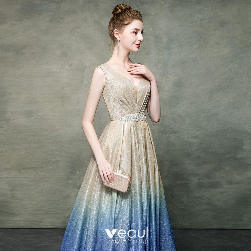 Elegante Champagner Farbverlauf Königliches Blau ...