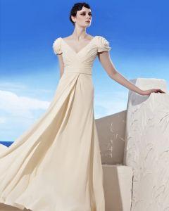 V Neck Floor Length Puff Balloon Sleeve Chiffon Flower Beading Empire Woman Evening Dress