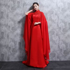 Chinese style Red Evening Dresses  2018 High Neck Tulle Appliques Beading Rhinestone Sequins Evening Party Formal Dresses