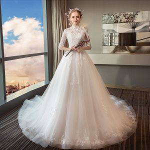 Chic / Beautiful White Wedding Dresses 2018 Ball Gown Lace Appliques High Neck Backless 1/2 Sleeves Cathedral Train Wedding