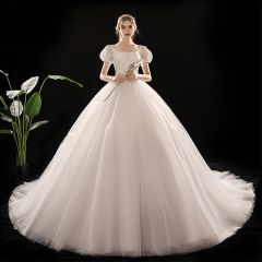 Vintage / Retro Ivory Wedding Dresses 2019 Princess Scoop Neck Puffy Short Sleeve Backless Chapel Train Ruffle