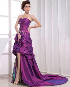 Longueur Asymetrique Sans Manches Decollete Amie Perles Plisse Femme Grande Robe Decolletee Bal En Taffetas