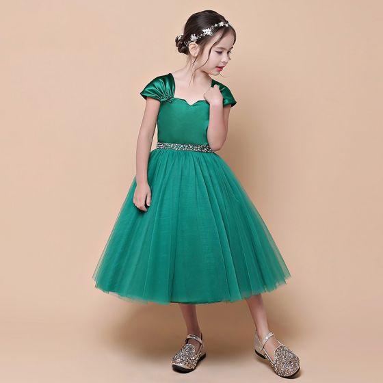 Vintage / Retro Dark Green Birthday Flower Girl Dresses 2021 Ball Gown Square Neckline Sleeveless Backless Beading Sequins Sash Tea-length Ruffle