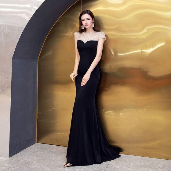 Wysokiej Klasy Czarne Sukienki Wieczorowe 2021 Syrena / Rozkloszowane Przezroczyste Wycięciem Bez Rękawów Frezowanie Trenem Sweep Wzburzyć Bez Pleców Sukienki Wizytowe