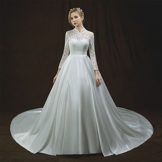 Chinese style Ivory Pierced Wedding Dresses 2018 A-Line / Princess High Neck Long Sleeve Backless Sash Cathedral Train Ruffle