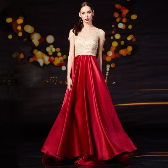 Fashion Red Satin Prom Dresses 2020 A-Line / Princess V-Neck Short Sleeve Beading Rhinestone Sweep Train Ruffle Backless Formal Dresses