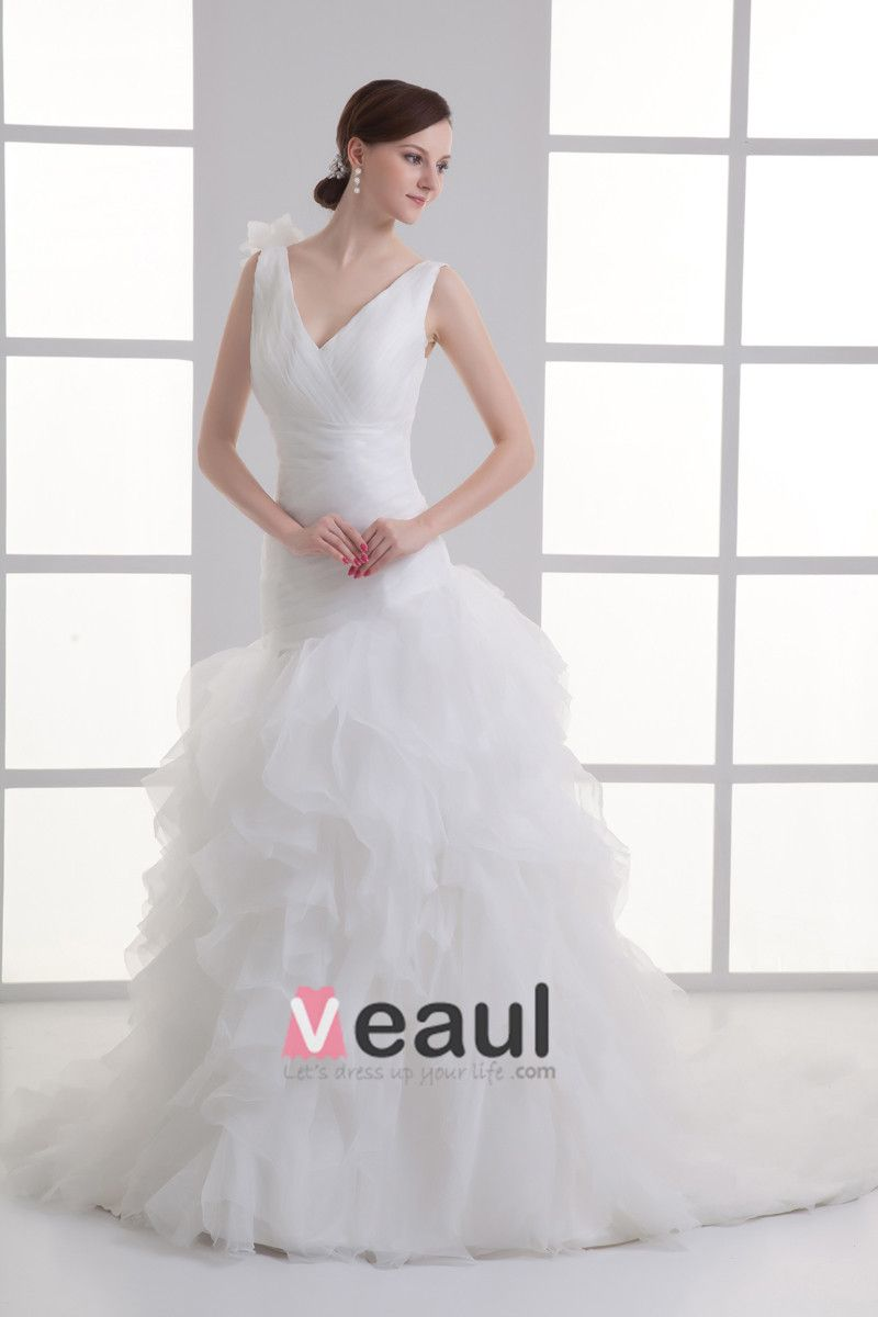 Organza Flower V Neck Court Train Tiered Wedding Dress