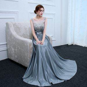 Chic / Beautiful Ink Blue Evening Dresses  2017 A-Line / Princess Charmeuse U-Neck Backless Beading Sequins Crystal Rhinestone Evening Party Formal Dresses
