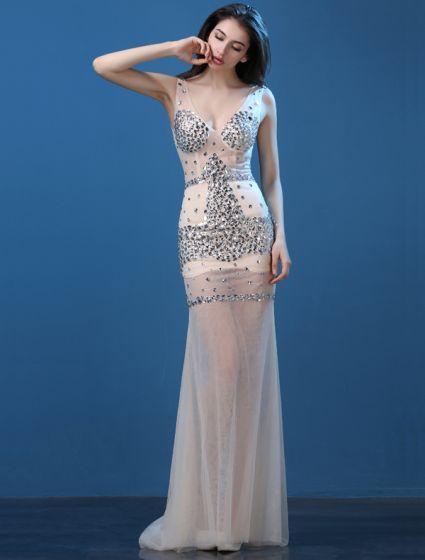 6fcaa878f7b Prickelnde Sexy Abendkleider 2016 Meerjungfrau Tiefem V-ausschnitt Ärmellos  Sicken Kristall Strass Kleid
