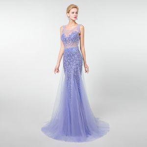 Luxury / Gorgeous Lavender See-through Evening Dresses  2019 Trumpet / Mermaid Scoop Neck Sleeveless Beading Tassel Sweep Train Ruffle Backless Formal Dresses