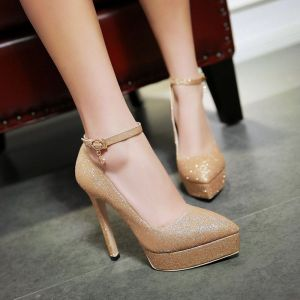 Sexy Gold Prom Womens Shoes 2018 Sequins Ankle Strap 13 cm Stiletto Heels Pointed Toe Pumps