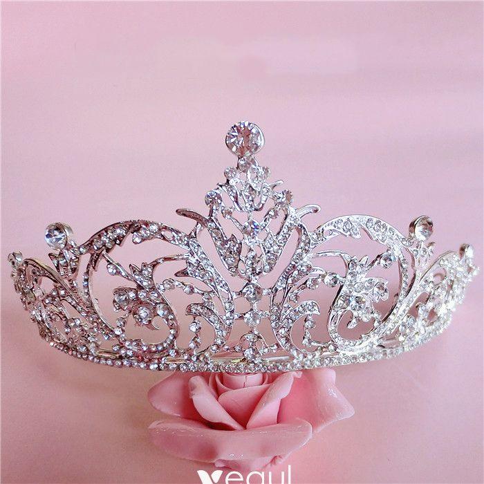 Bridal Jewelry Sparkly 2017 Silver Crystal Rhinestone Metal Tiara