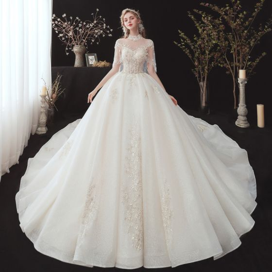 Vintage / Retro Champagne See-through Bridal Wedding Dresses With Shawl 2020 Ball Gown High Neck Sleeveless Backless Glitter Tulle Flower Appliques Lace Beading Cathedral Train Ruffle