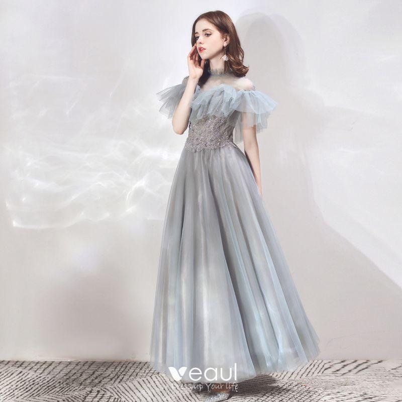 Vintage Elegante Grau Durchsichtige Abendkleider 2019 A Linie Stehkragen Kurze Armel Applikationen Spitze Perlenstickerei Lange Ruschen