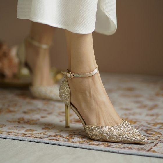 Charming Gold Pearl Rhinestone Wedding Shoes 2020 Leather Ankle Strap 7 cm Stiletto Heels Pointed Toe Wedding Heels