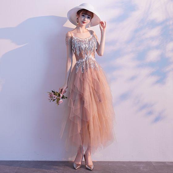 Stylowe / Modne Szampan Sukienki Wieczorowe 2019 Princessa Spaghetti Pasy Z Koronki Kwiat Cekiny Kutas Bez Rękawów Długość Kostki Sukienki Wizytowe
