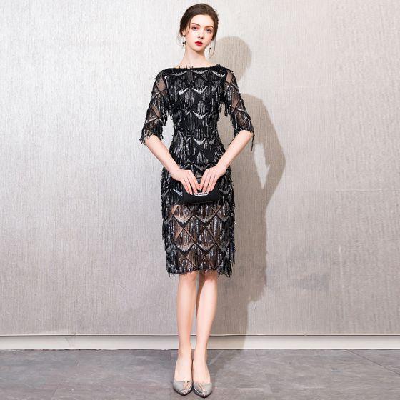 Schöne Schwarz Abendkleider 2019 Spitze Pailletten Perlenstickerei Quaste Eckiger Ausschnitt 1/2 Ärmel Kurze Festliche Kleider