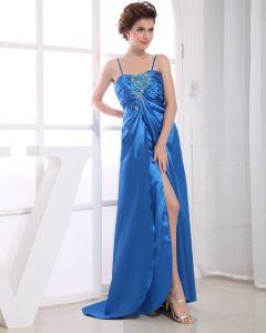 Charmeuse Spaghetti Straps Sequins Ruffle Sleeveless Backless Zipper Floor Length Pleated Slit Prom Dress