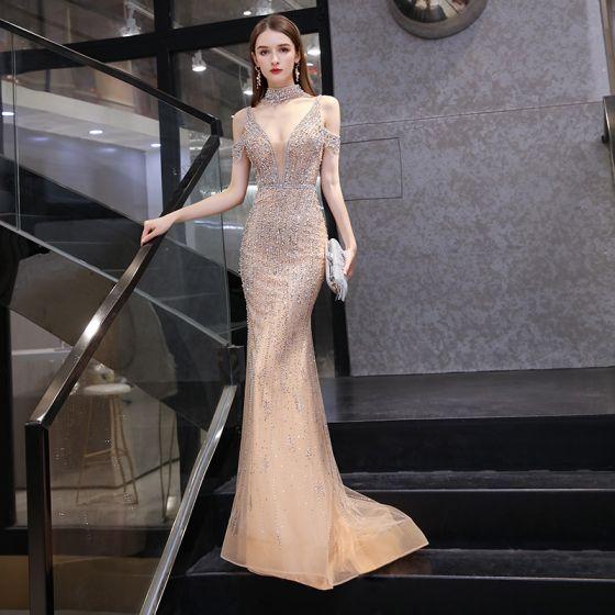 Sexy Luxus / Herrlich Gold Roter Teppich Abendkleider 2020 Meerjungfrau Tiefer V-Ausschnitt Kurze Ärmel Handgefertigt Perlenstickerei Perle Sweep / Pinsel Zug Rüschen Rückenfreies Festliche Kleider