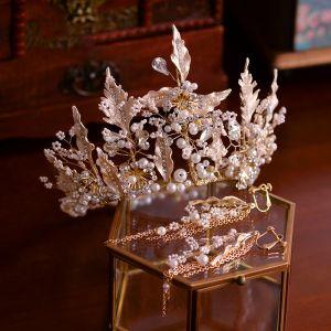 Eleganckie Złote Biżuteria Ślubna 2019 Metal Perła Rhinestone Tiara Kutas Kolczyki Ślub Akcesoria