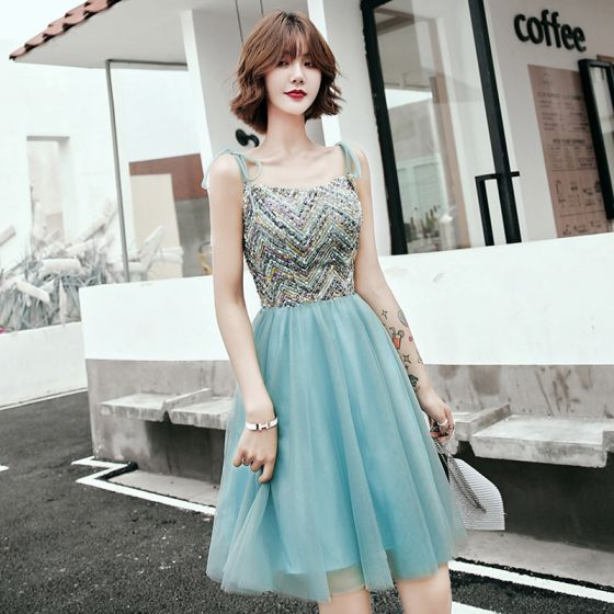 Chic / Beautiful Jade Green Homecoming Graduation Dresses 2020 A-Line / Princess Spaghetti Straps Sleeveless Sequins Short Ruffle Backless Formal Dresses